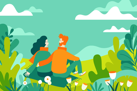 Vector illustration in flat linear style - spring illustration - landscape illustration with couple in love - exploring nature and trekking together - greeting card design template  Ilustração