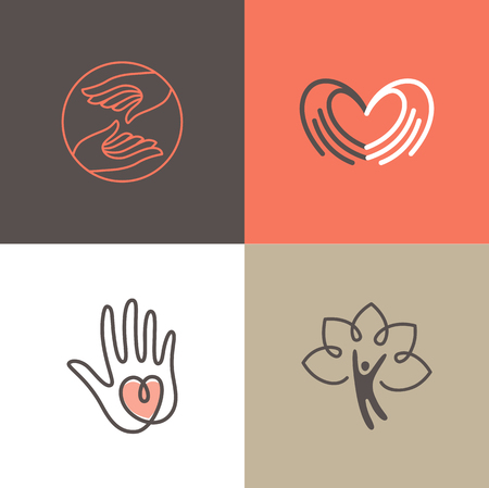 Vector set of   design templates - charity and volunteer concepts - hands with heart - emblems and signs for nonprofit and philanthropic organisations, charity shops, crowdfunding platforms and volunteer centers