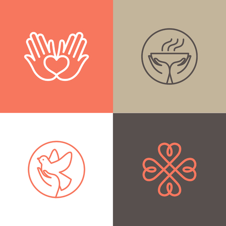 Vector set of  design templates - charity and volunteer concepts - hands with heart - emblems and signs for nonprofit and philanthropic organisations, charity shops, crowdfunding platforms and volunteer centers Illustration