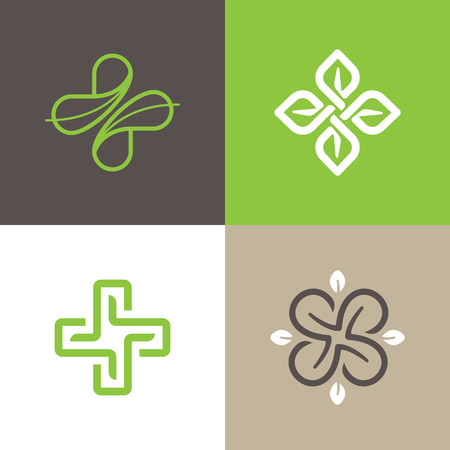 Vector set of abstract  emblems - alternative medicine concepts and holistic health centers