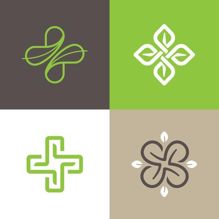 Wektor zestaw abstrakcyjnych emblematów - koncepcje medycyny alternatywnej i holistyczne ośrodki zdrowia Ilustracje wektorowe