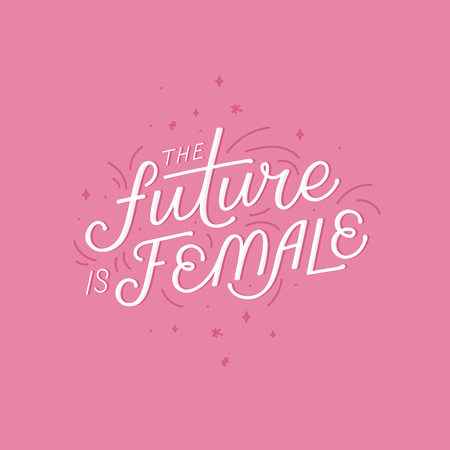 Vector illustration with hand-lettering phrase -future is female - stylish print for poster or t-shirt - feminism quote and woman motivational slogan - international womens day phrase Illustration