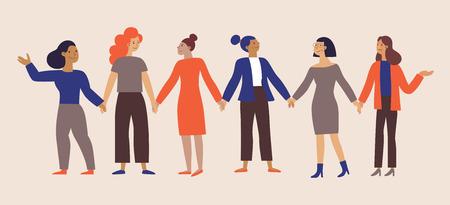 Illustrazione vettoriale con frase girl power - movimento femminista - più forte insieme - concetto per stampe, t-shirt, cartoline - donne felici con banner - giornata internazionale della donna