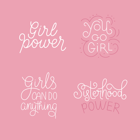 Vector set of illustrations with hand-lettering phrases girl power - stylish print for poster or t-shirt - feminism quote and woman motivational slogan - international womens day phrases