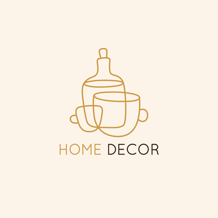 Vector  design template in simple linear style - home decor store emblem, scandinavian and minimal interior decoration, accessories and objects - cups and bottle Banque d'images - 116389139