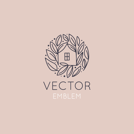 Vector design template in simple linear style - home decor store emblem, scandinavian and minimal interior decoration, accessories and objects