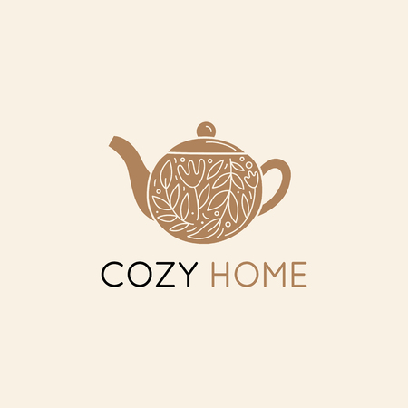 Vector   design template in simple linear style - home decor store emblem, scandinavian and minimal interior decoration, accessories and objects - teapot with leaves Banque d'images - 116389758