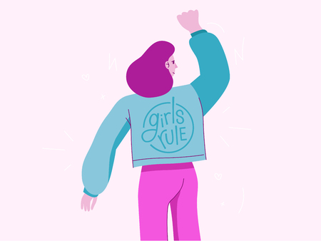 Vector illustration with female character and hand lettering phrase girls rule - feminist movement  - concept for prints, cards - international womens day