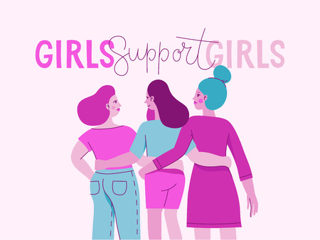 Illustrazione vettoriale con personaggio femminile e frase scritta a mano che le ragazze supportano le ragazze - movimento femminista - concetto per stampe, cartoline - giornata internazionale della donna