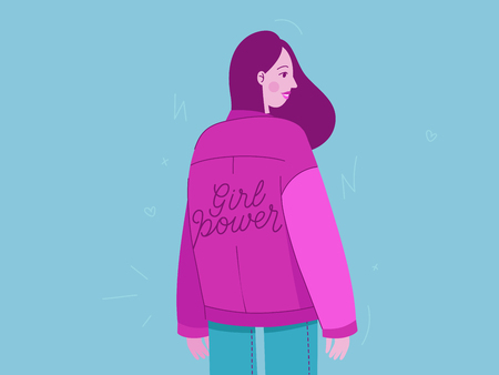 Vector illustration with female character and hand lettering phrase girl power - feminist movement  - concept for prints, cards - international womens day