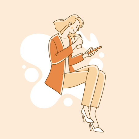Vector illustration in simple linear style - young girl drinking coffee