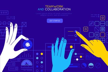 Illustrazione vettoriale in stile piatto semplice con le mani e l'interfaccia utente astratta - concetto di lavoro di squadra e collaborazione - messa a punto e sviluppo di app per affari, piattaforma di formazione online, sistema di marketing e pubblicità Vettoriali