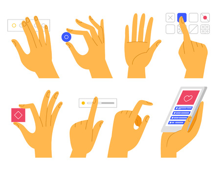 Vector set of hands  in modern cartoon style - touch screen gestures and app interface elements