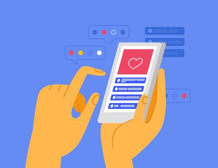 Vector illustration in simple flat style - hand holding mobile phone with app