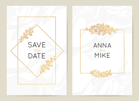 Vector design template in simple modern style with copy space for text - wedding invitation background and frame, luxury stationery and greeting card design with palm leaves and golden border Фото со стока - 117366469