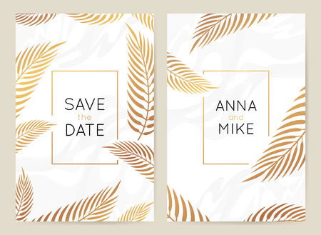Plantilla de diseño vectorial en estilo moderno y sencillo con espacio de copia de texto: marco y fondo de invitación de boda, papelería de lujo y diseño de tarjetas de felicitación con hojas de palmera y borde dorado Ilustración de vector