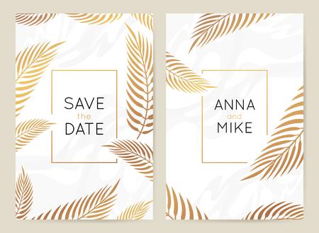 Vector ontwerpsjabloon in eenvoudige moderne stijl met kopie ruimte voor tekst - bruiloft uitnodiging achtergrond en frame, luxe briefpapier en wenskaart ontwerp met palmbladeren en gouden rand Vector Illustratie