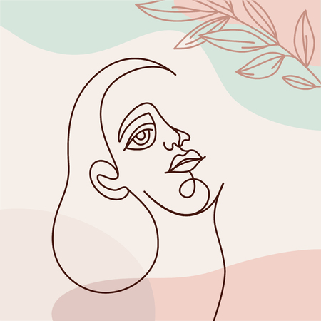 Vector illustration in continuous line style - minimalistic female portrait - abstract concept for t-shirt print, beauty blogs and posts Reklamní fotografie - 122038151