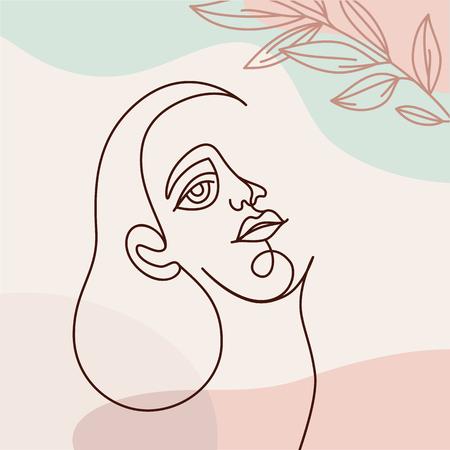 Vektorgrafik im durchgehenden Linienstil - minimalistisches Frauenporträt - abstraktes Konzept für T-Shirt-Druck, Beauty-Blogs und Beiträge post