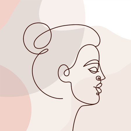 Vector illustration in continuous line style - minimalistic female portrait - abstract concept for t-shirt print, beauty blogs and posts