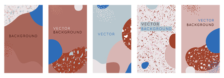 Vector set of abstract creative backgrounds in minimal trendy style with copy space for text - design templates for social media stories and bloggers - simple, stylish designs for invitations, packaging with terrazzo textures