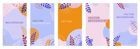 Vector set of abstract creative backgrounds in minimal trendy style with copy space for text - design templates for social media stories and bloggers - simple, stylish designs for invitations, packaging with terrazzo textures and leaves