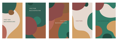 Vector set of abstract creative backgrounds in minimal trendy style with copy space for text - design templates for social media stories and bloggers - simple, stylish and minimal designs for invitations, banners, covers, flyers, packaging