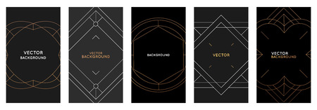 Vector set of design template and photo frames in simple modern style with copy space for text - social media stories and posts wallpapers, stationery and greeting card designs with golden borders