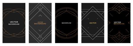 Vektor-Set von Designvorlagen und Bilderrahmen im einfachen modernen Stil mit Kopienraum für Text - Social-Media-Geschichten und Post-Hintergründe, Briefpapier und Grußkarten-Designs mit goldenen Rändern