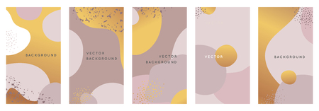 Vector set of abstract creative backgrounds in minimal trendy style with copy space for text - design templates for social media stories and  - simple, stylish and minimal designs for invitations, banners, covers, flyers, packaging