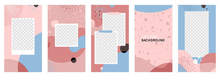 Vector set of abstract creative backgrounds in minimal trendy style with copy space for text  and photo frames - design templates for social media stories - simple, stylish designs with terrazzo textures