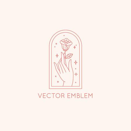 Vektorabstrakte Designvorlage im trendigen linearen Minimalstil - Hände mit Rose und Sternen - Symbol für Kosmetik, Schmuck, Schönheitsprodukte