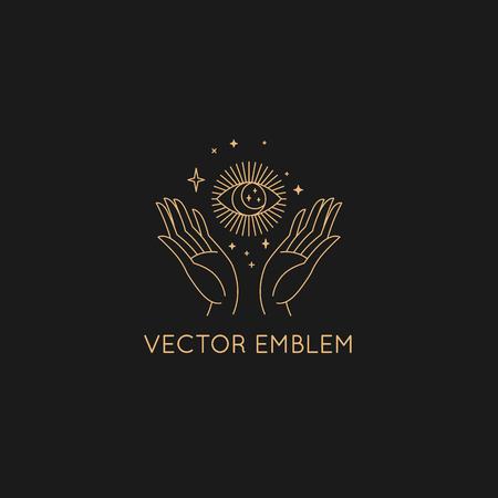 Modèle de conception abstraite de vecteur dans un style minimal linéaire tendance - main avec soleil et étoiles - symbole pour les cosmétiques, les bijoux, les produits de beauté