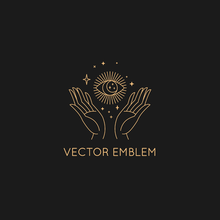 Vector abstract  design template in trendy linear minimal style - hand with sun and stars - symbol for cosmetics, jewelry, beauty products
