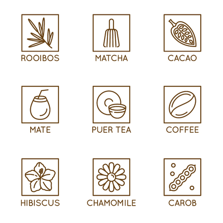 Vector set of herbal organic tea and drinks badges and icons in linear style - healthy drinks caffeine free packaging design elements - matcha, mate and puer tea,  cacao, carob and coffee, hibiscus Иллюстрация