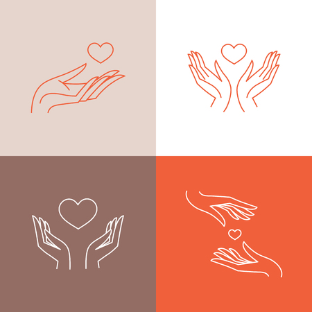 Vector set of design templates in trendy linear style - blood donation, medicine and healthcare concepts - caring and protecting hands and heart shape