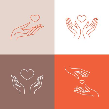 Vector set ontwerpsjablonen in trendy lineaire stijl - bloeddonatie, medicijnen en gezondheidszorgconcepten - zorgzame en beschermende handen en hartvorm