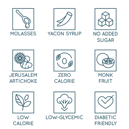 Vector set of design elements, badges and icons - alternative sweeteners. Natural substitutes for added sugar for healthy and organic products - molasses, yacon syrup, monk fruit, jerusalem artichoke, diabetic friendly