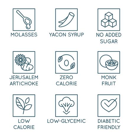 Vector conjunto de elementos de diseño, insignias e iconos - edulcorantes alternativos. Sustitutos naturales del azúcar añadido para productos orgánicos y saludables: melaza, jarabe de yacón, fruta monje, alcachofa de Jerusalén, apto para diabéticos
