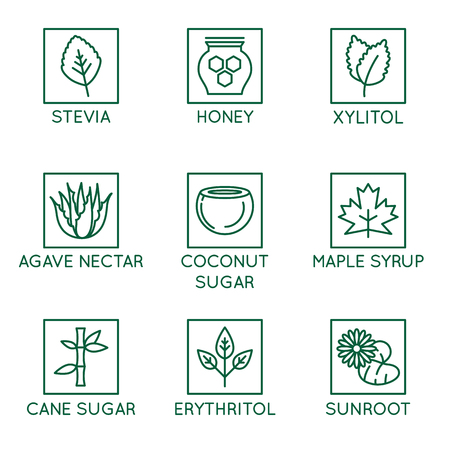 Vector set of design elements, badges and icons - alternative sweeteners. Natural substitutes for added sugar for healthy and organic products - stevia, honey, xylitol, agave nectar, coconut and cane sugar, erythritol, sunroot Illustration