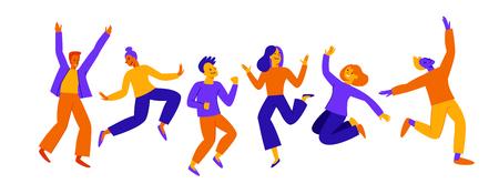 Vector illustration in flat simple style - happy jumping team - smiling men and women - victory, teamwork and cooperation concept - happy and joyful people Vectores