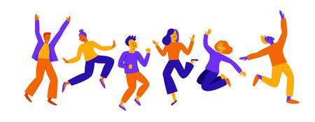 Vektorgrafik im flachen, einfachen Stil - glückliches Springteam - lächelnde Männer und Frauen - Sieg, Teamwork und Kooperationskonzept - glückliche und fröhliche Menschen