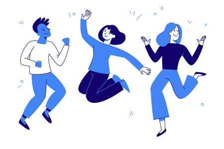 Vector illustration in flat simple style - happy jumping team - smiling men and women - victory, teamwork and cooperation concept - happy and joyful people 일러스트