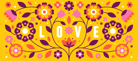 Vector illustration with text love in simple flat geometric and linear style in bright colors - horizontal frame with decorative flowers, leaves - design template for covers, banners, packaging 일러스트