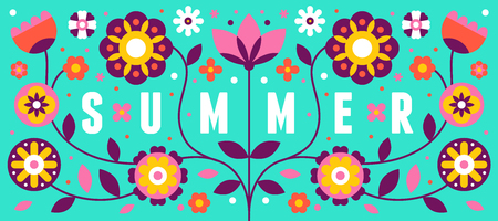Vector illustration with text summer in simple flat geometric and linear style in bright colors - frame with decorative flowers, leaves - design template for covers, banners, packaging