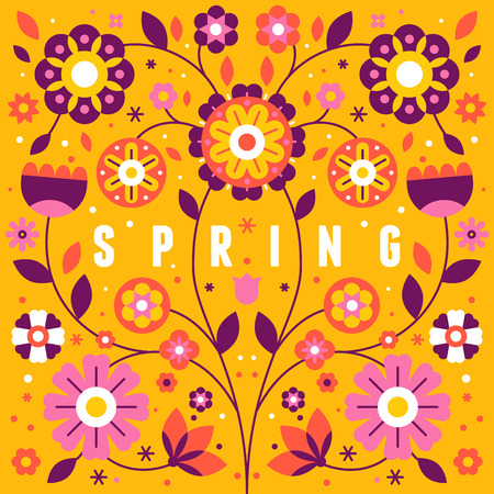 Vector illustration with text spring in simple flat geometric and linear style in bright colors - frame with decorative flowers, leaves - design template for covers, banners, packaging 일러스트