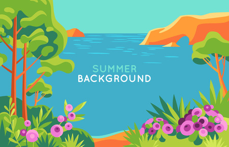 Vector illustration in trendy flat and simple style - background with copy space for text - summer landscape - background for banner, greeting card, poster and advertising - summer vacation concept  Vettoriali