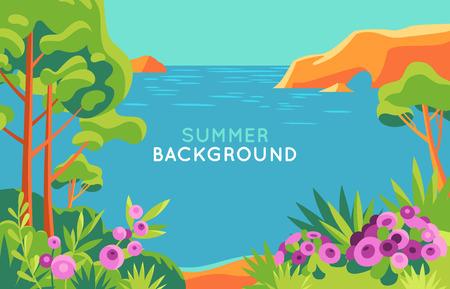 Vektorgrafik im trendigen flachen und einfachen Stil - Hintergrund mit Kopienraum für Text - Sommerlandschaft - Hintergrund für Banner, Grußkarten, Poster und Werbung - Sommerferienkonzept