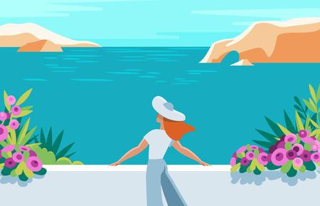 Ilustración de vector en estilo moderno y plano - paisaje de verano y mujer disfrutando de las vacaciones - fondo para banner, tarjetas de felicitación, carteles y publicidad