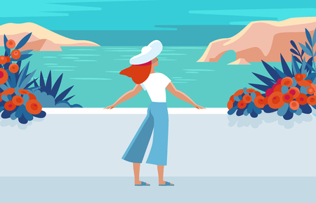 Vector illustration in trendy flat and simple style -  summer landscape and woman enjoying vacation - background for banner, greeting card, poster and advertising  Illustration